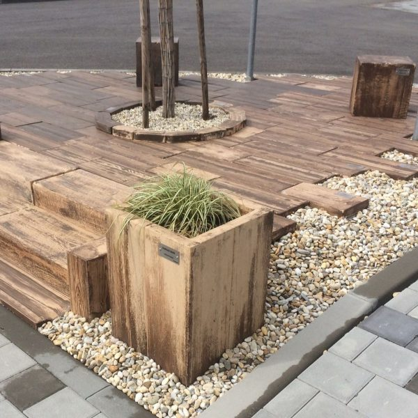 Pflanzgefäße, Stone Wood Plant Pot